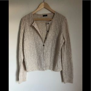 Jcrew cream button down cable knit cardigan